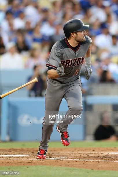 J Pollock of the Arizona Diamondbacks bats during the game against the Los Angeles Dodgers at Dodger Stadium on July 6 2017 in Los Angeles California...