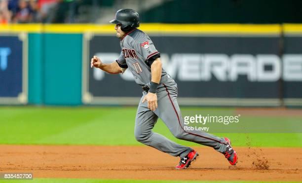 J Pollock of the Arizona Diamondbacks breaks for second base against the Houston Astrosat Minute Maid Park on August 17 2017 in Houston Texas