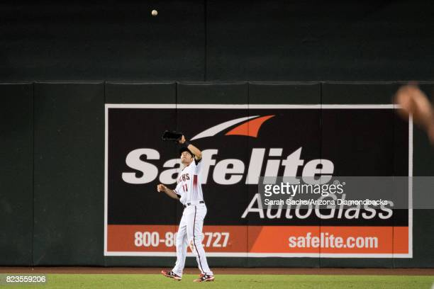 J Pollock of the Arizona Diamondbacks catches a ball during a game against the Atlanta Braves at Chase Field on July 24 2017 in Phoenix Arizona
