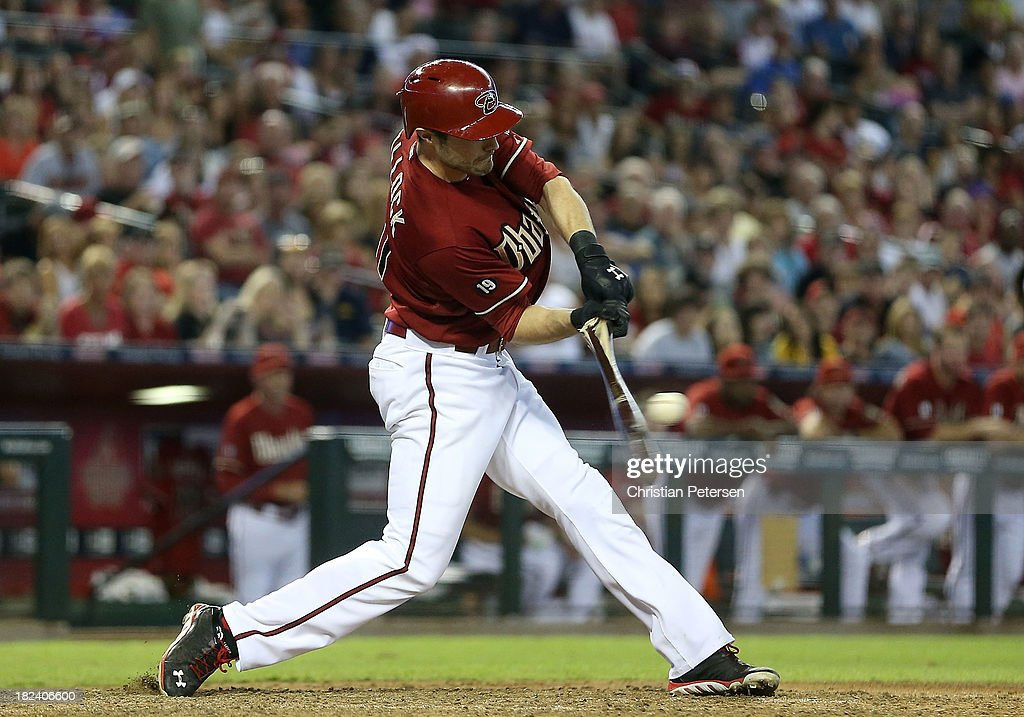 A.J. Pollock #11 of the Arizona Diamondbacks hits a broken bat RBI single against the Washington Nationals during the eighth inning of the MLB game at Chase Field on September 29, 2013 in Phoenix, Arizona. The Diamondbacks defeated the Nationals 3-2.