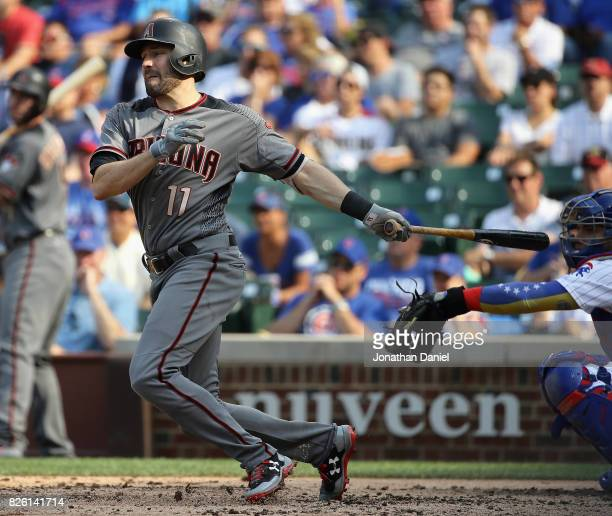 J Pollock of the Arizona Diamondbacks hits a single in the 5th inning against the Chicago Cubs at Wrigley Field on August 3 2017 in Chicago Illinois