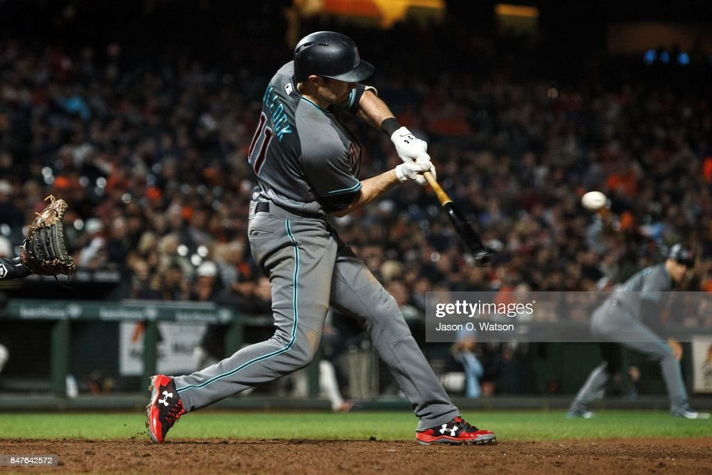 A.J. Pollock #11 of the Arizona Diamondbacks hits a two run double against the San Francisco Giants during the seventh inning at AT&T Park on September 15, 2017 in San Francisco, California. The Arizona Diamondbacks defeated the San Francisco Giants 3-2.