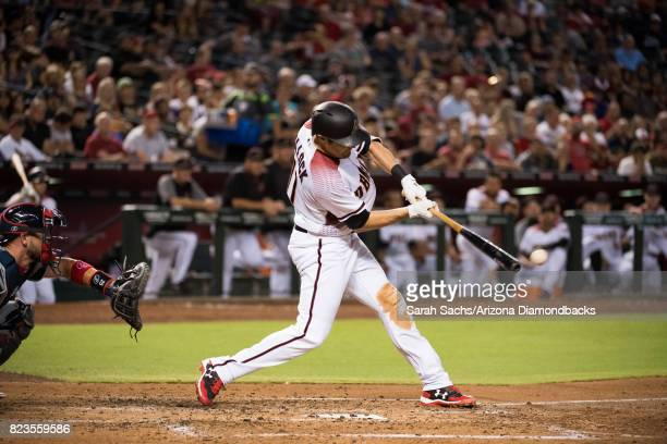 J Pollock of the Arizona Diamondbacks hits an RBI double during a game against the Atlanta Braves at Chase Field on July 24 2017 in Phoenix Arizona