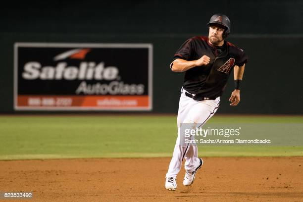 J Pollock of the Arizona Diamondbacks hustles around the bases during a game against the Washington Nationals at Chase Field on July 22 2017 in...