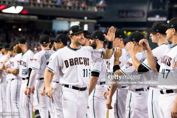 J Pollock of the Arizona Diamondbacks is introduced prior to the National League Wild Card game between the Arizona Diamondbacks and Colorado Rockies...