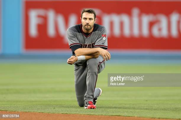 J Pollock of the Arizona Diamondbacks looks on during the game against the Los Angeles Dodgers at Dodger Stadium on July 6 2017 in Los Angeles...