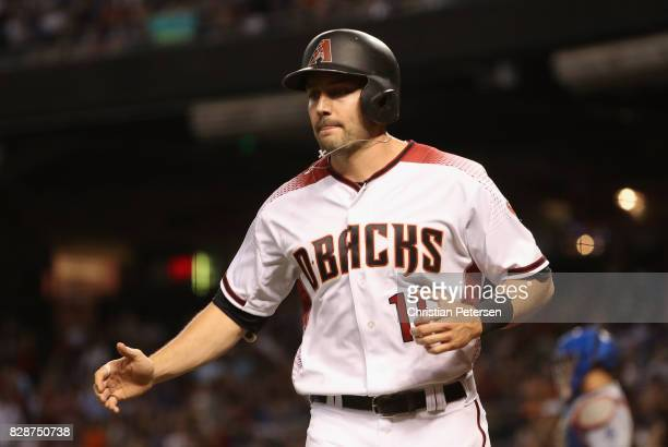 J Pollock of the Arizona Diamondbacks reacts after scoring against the Los Angeles Dodgers during the sixth inning of the MLB game at Chase Field on...