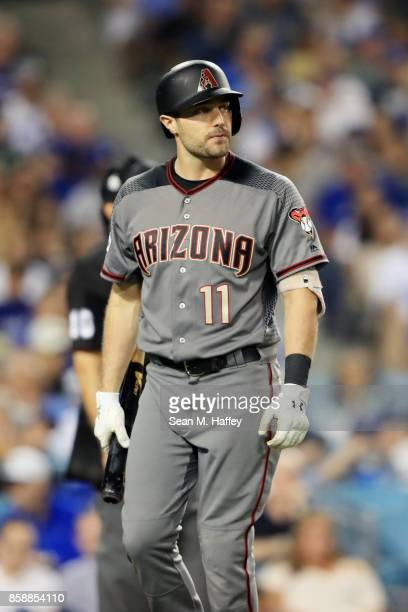 J Pollock of the Arizona Diamondbacks reacts during the seventh inning against the Los Angeles Dodgers in game two of the National League Division...