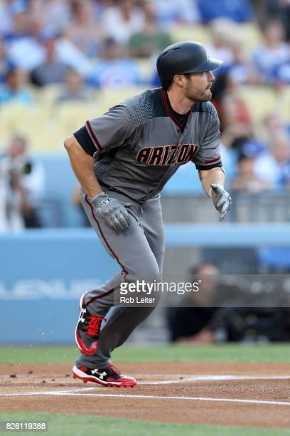 J Pollock of the Arizona Diamondbacks runs during the game against the Los Angeles Dodgers at Dodger Stadium on July 6 2017 in Los Angeles California...