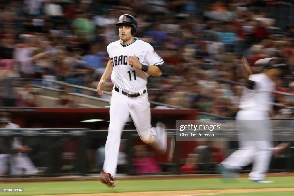 A.J. Pollock #11 of the Arizona Diamondbacks runs home to score a run against the San Diego Padres during the sixth inning of the MLB game at Chase Field on April 25, 2017 in Phoenix, Arizona.
