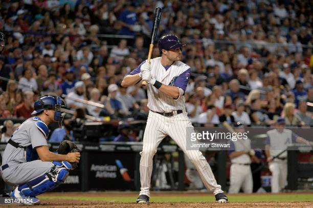 J Pollock of the Arizona Diamondbacks stands at bat against the Los Angeles Dodgers at Chase Field on August 10 2017 in Phoenix Arizona