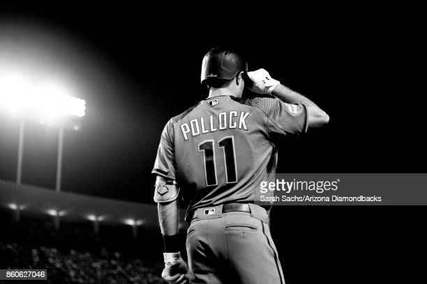AJ Pollock of the Arizona Diamondbacks stands in the ondeck circle during Game Two of the National League Division Series against the Los Angeles...