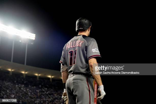 J Pollock of the Arizona Diamondbacks stands in the ondeck circle during Game Two of the National League Division Series against the Los Angeles...