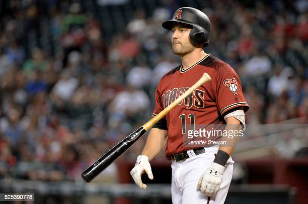 J Pollock of the Arizona Diamondbacks tosses his bat after striking out against the Atlanta Braves at Chase Field on July 26 2017 in Phoenix Arizona