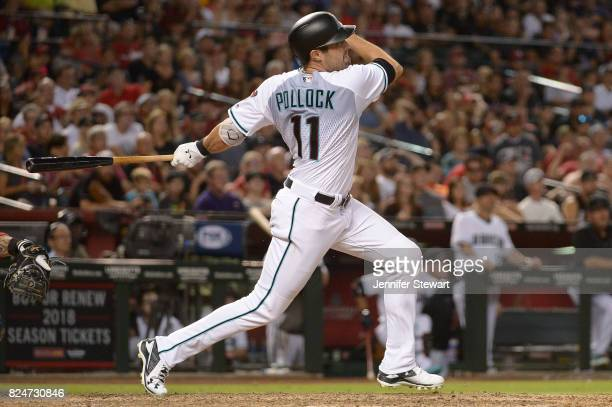 J Pollock of the Arizona Diamondbacks triples on a line drive in the ninth inning of the game against the Washington Nationals at Chase Field on July...