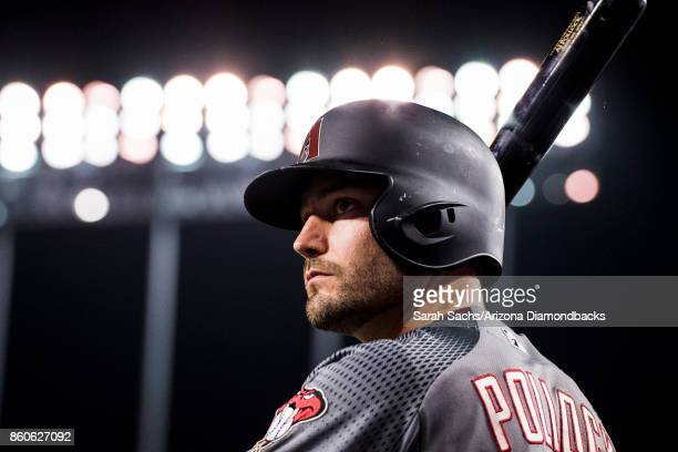 J Pollock of the Arizona Diamondbacks waits in the ondeck circle during Game Two of the National League Division Series against the Los Angeles...