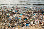 Polluted beach in a fishing village in Vietnam, environmental pollution concept, Asia