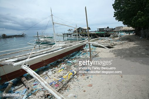 Polluted beach : Stock Photo