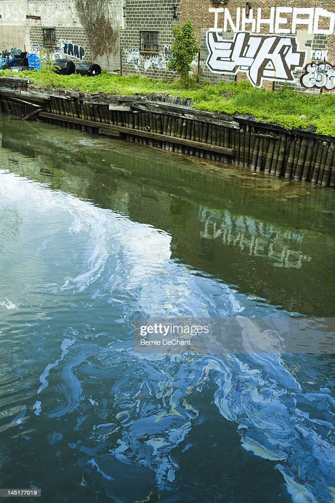 Polluted waterway in Gowanus Canal, Brooklyn : Stock Photo