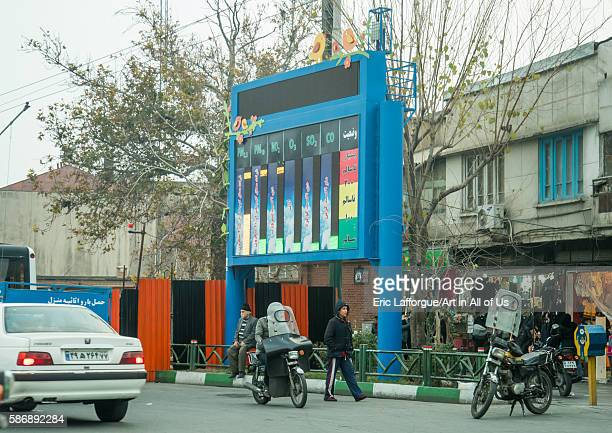 Pollution bulletin board central district tehran Iran on December 20 2015 in Tehran Iran