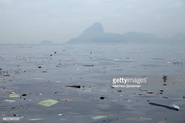 Pollution floats in Guanabara Bay site of sailing events for the Rio 2016 Olympic Games on July 29 2015 in Rio de Janeiro Brazil The Rio government...