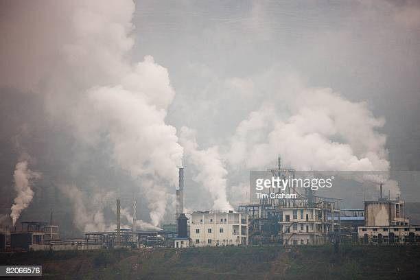 Pollution from cement factories along the Yangtze River China