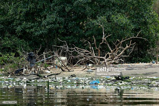 Pollution lines the shore on Guanabara Bay site of sailing events for the Rio 2016 Olympic Games on July 29 2015 in Rio de Janeiro Brazil The Rio...