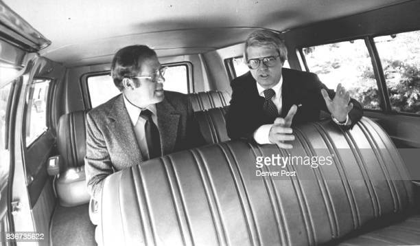 PollutionFighting Program to Go Gov Dick Lamm right explains the 'Pool Van' concept to state employee Pete Peterson the first Colorado employee to...