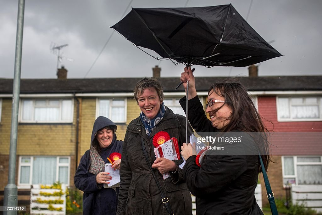 Polly Billington, Labour Party candidate for Thurrock, campaigns in Tilbury on May 6, 2015 in Tilbury, England. The south Essex constituency of Thurrock is a three-way battle with the UK Independence Party candidate Tim Aker and Labour's Polly Billington challenging Conservative MP for Thurrock Jackie Doyle-Price. The United Kingdom goes to the polls in a general election tomorrow.