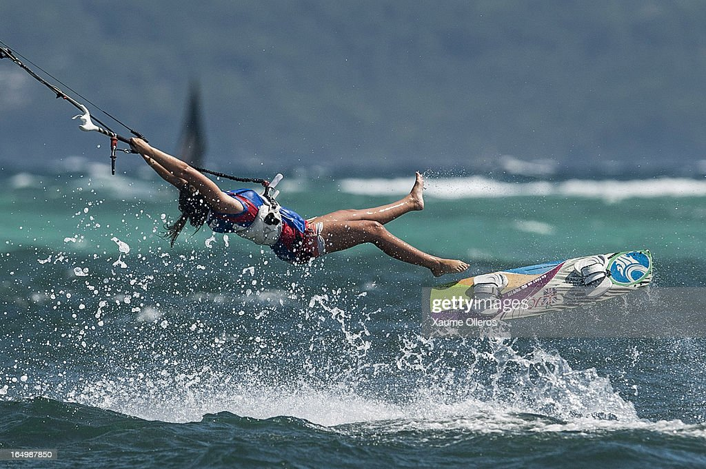 Polly Crathorne of Great Britain crashes after failing a trick on freestyle competition during day five of the KTA at Boracay Island on March 30, 2013 in Makati, Philippines.