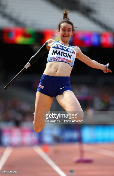 Polly Maton of Great Britain competes in the Womens long jump T47 final during day ten of the IPC World ParaAthletics Championships 2017 at London...