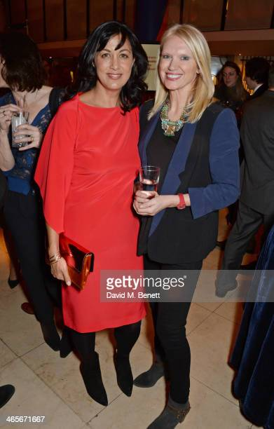 Polly Samson and Anneka Rice attend the 2013 Costa Book of the Year Awards at Quaglinos on January 28 2014 in London England
