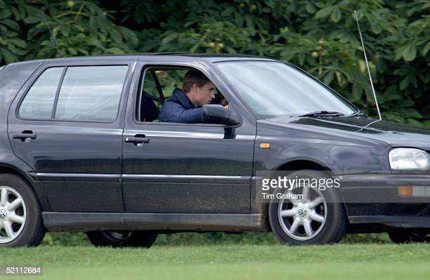 Polo At Cirencester In Gloucestershire Prince William Driving His Volkswagen Golf Car