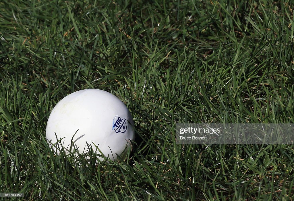 A polo ball sits in the field during the game between Team Mercedes and the Caballeros Polo Team in Bethpage State Park on September 9, 2012 in Bethpage, New York.