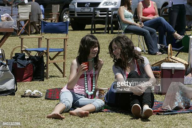 Polo Cup in Portsea Two girls enjoy the atmosphere at a charity polo match in Portsea today January 14th 2006 THE AGE MAGAZINE Picture by ANGELA WYLIE
