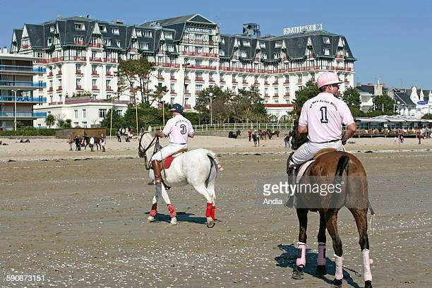 Polo match in front of the luxury hotel 'L'hermitage' in the Bay of La Baule AngloNorman architecture facing the ocean Hotel 'L'Hermitage Barriere'...
