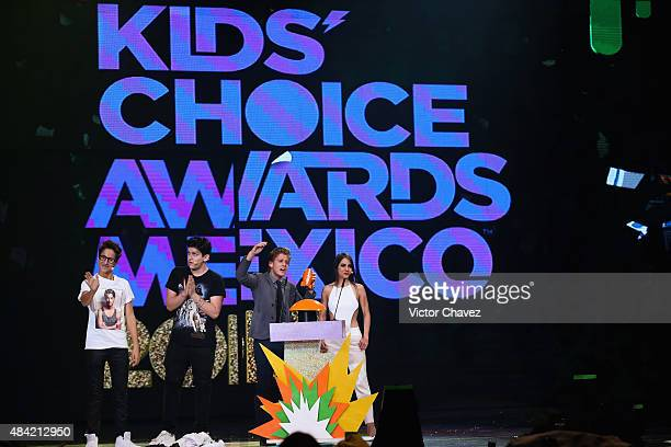 Polo Morin and Ela Velden on stage during the Nickelodeon Kids' Choice Awards Mexico 2015 at Auditorio Nacional on August 15 2015 in Mexico City...