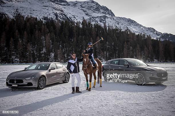 Polo player Malcolm Borwick and blogger Marta Gonzalez pose near a Maserati Ghibli and a Maserati Levante during the Snow Polo World Cup St Morits...