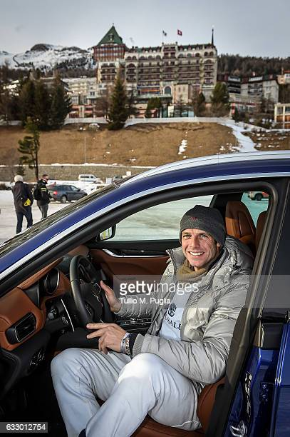 Polo player Malcolm Borwick poses in a Maserati Levante during Snow Polo World Cup St Morits 2017 on January 28 2017 in St Moritz Switzerland