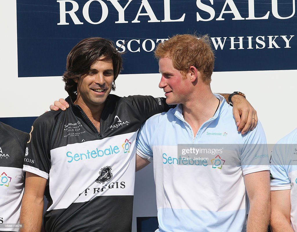 Polo Player Nacho Figueras and Prince Harry pose together at the Greenwich Polo Club during the sixth day of HRH Prince Harry's visit to the United States. The Sentebale Royal Salute Polo Cup took place at Greenwich Polo Club on Wednesday 15th May. The Sentebale Land Rover team was captained by Royal Salute Ambassador Malcolm Borwick with team members Marc Ganzi, Michael Carrazza and Prince Harry, one of the founding Patrons of Sentebale. The St. Regis polo team was captained by Sentebale's Ambassador Nacho Figueras with team members Peter Orthwein, Steve Lefkowitz and Dawn Jones. Royal Salute played host to a number of high profile celebrities including His Grace Torquhil Ian Campbell, the 13th Duke of Argyll, Karolina Kurkova and Olivia Palermo. Royal Salute World Polo is a global programme, which now supports tournaments across four continents. The luxury Scotch's involvement with Polo is founded on the game's incredible power, skill and elegance; qualities which blend perfectly with Royal Salute Scotch whisky, at Greenwich Polo Club on May 15, 2013 in Greenwich, Connecticut.