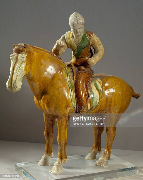 Polo player terracotta tricolour statue China Chinese Civilisation Tang Dynasty 8th century