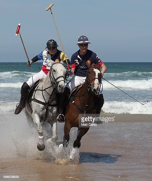 Polo players Andy Burgess and Major Ben Marshall practice for the beach polo competition being held on the beach at Watergate Bay this weekend on May...