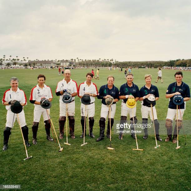 Polo players including John Walsh and Memo Gracida are photographed for Town Country Magazine in a prematch team portrait at the first Windsor...