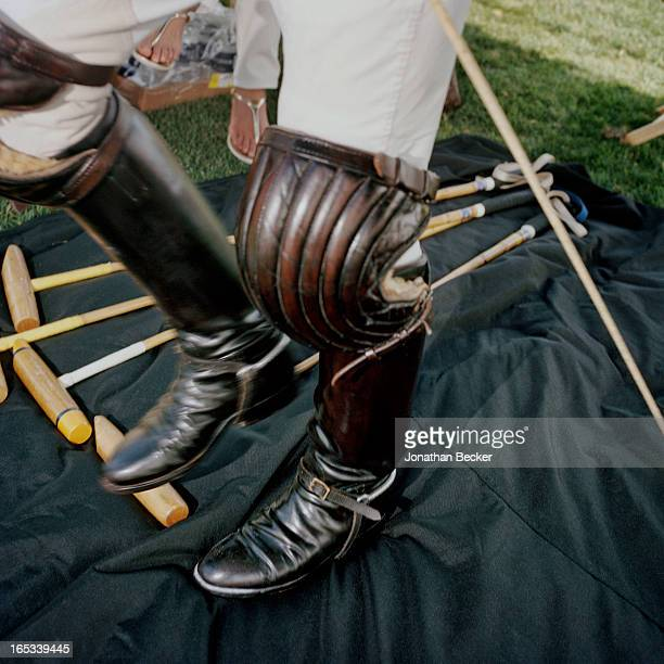 A polo player's knee pads are photographed for Town Country Magazine during the first Windsor Charity Polo Cup on February 18 2012 in Vero Beach...