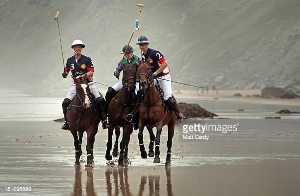 Polo players Rob Brockett on his horse Pachu Andy Burgess on Shriva and Major Ben Marshall on Burris practise on the beach ahead of tomorrow's beach...