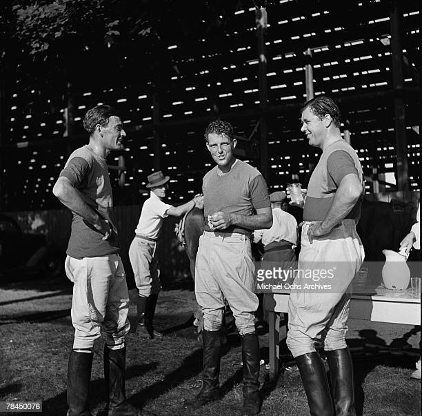 Polo players take a break in the summer of 1938 at the site of the 1939 New York World's Fair in Flushing Meadows Queens in New York City New York