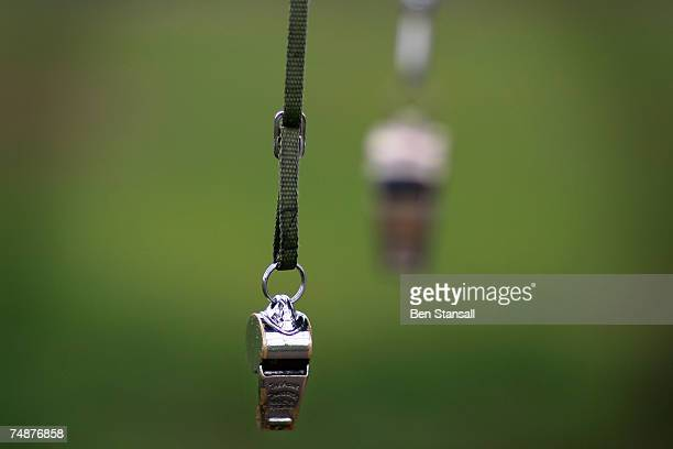 Polo referee's whistles hang unused before The Credit Suisse Royal Windsor Cup Final at Guards Polo Club on June 24 2007 in Windsor England