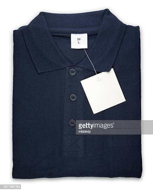Polo shirt with blank tag, isolated on white background