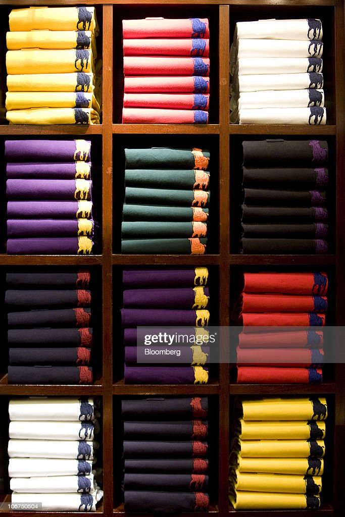 ... UK \u0026middot; Polo shirts are stacked on display at the Ralph Lauren store in London UK on Thursday ...
