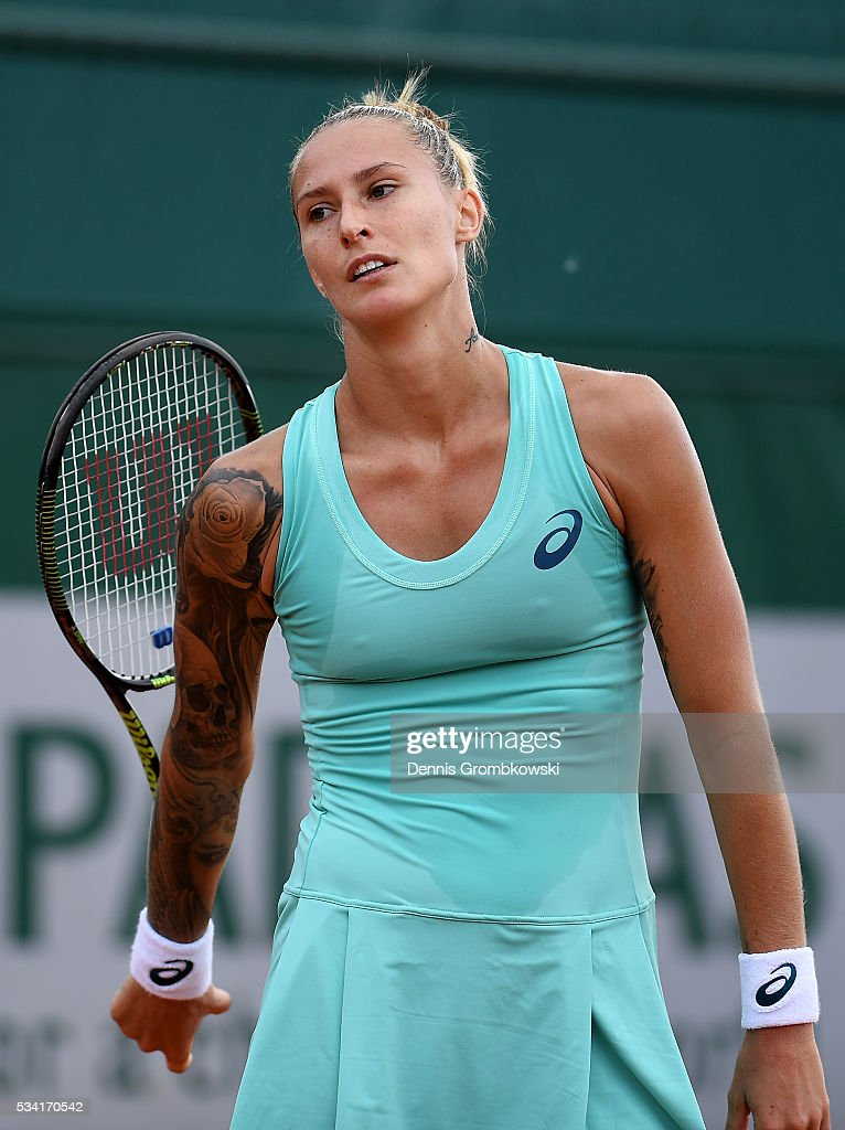 <a gi-track='captionPersonalityLinkClicked' href=/galleries/search?phrase=Polona+Hercog&family=editorial&specificpeople=4315683 ng-click='$event.stopPropagation()'>Polona Hercog</a> of Slovenia reacts during the Women's Singles second round match against Barbora Strycova of the Czech Republic on day four of the 2016 French Open at Roland Garros on May 25, 2016 in Paris, France.